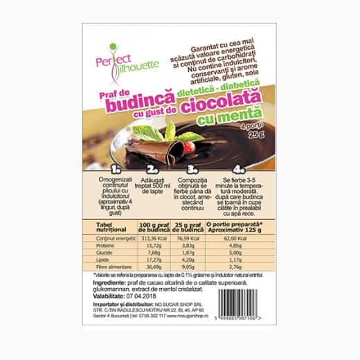 Budinca cu cacao, menta si glucomannan (konjac)