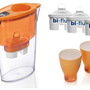 PROMO: Cana Laica Stream Orange + 3 filtre + 2 pahare