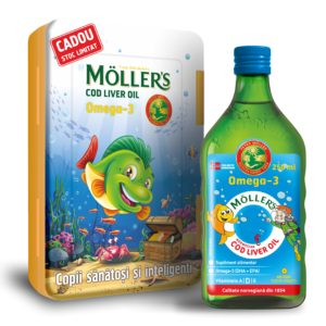 The Original MÖLLER's Cod Liver Oil Omega-3 tutti-frutti, 250 ml + CUTIE DE PRÂNZ CADOU