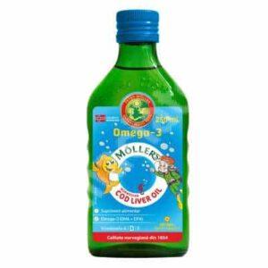 MÖLLER's Cod Liver Oil Omega 3 cu aroma tutti frutti - 250 ml
